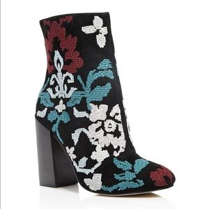 Rebecca Minkoff Bojana embroidered suede booties
